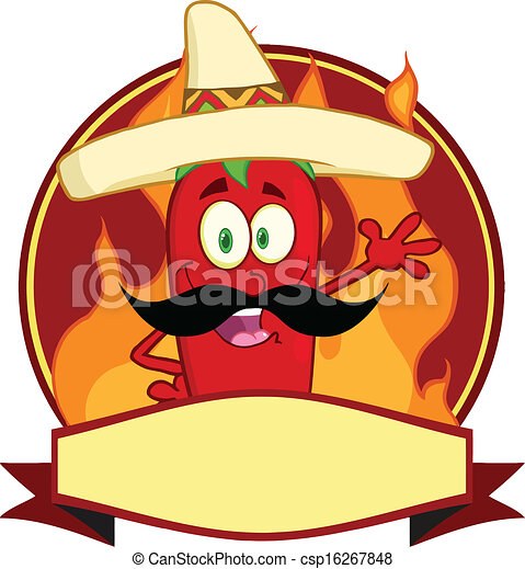 Mexican Chili Pepper Cartoon Logo - csp16267848