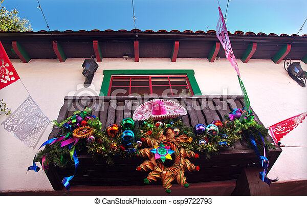 Mexican Christmas Decorations.Mexican Christmas Decorations Balcony Old San Diego Town California