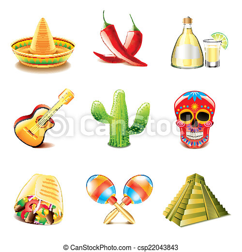Mexican Culture Icons Vector Set Mexican Culture Icons Photo