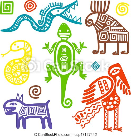 Mexican Culture Primitive Tribal Signs Vector African Or Mexican
