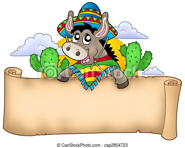 Mexican donkey holding parchment - csp2854723