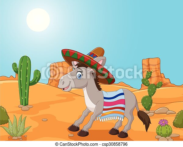 Mexican donkey wearing a sombrero  - csp30858796
