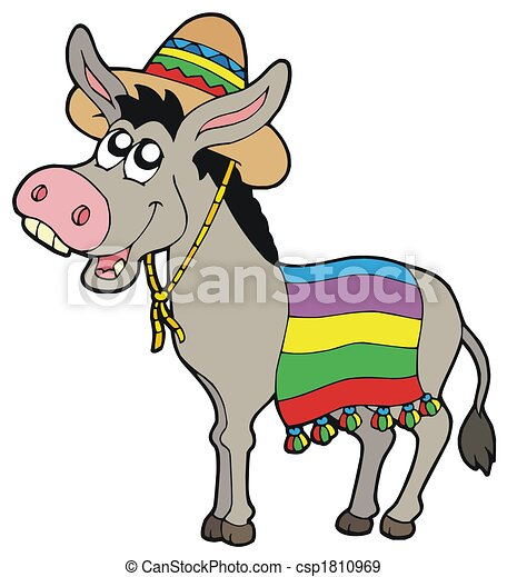 Mexican donkey with sombrero - csp1810969