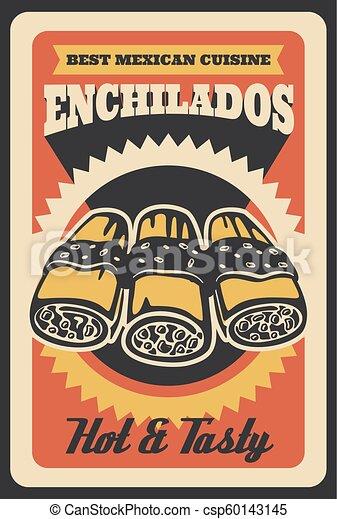 Mexican enchilados vector retro poster. Mexican enchilados retro ...