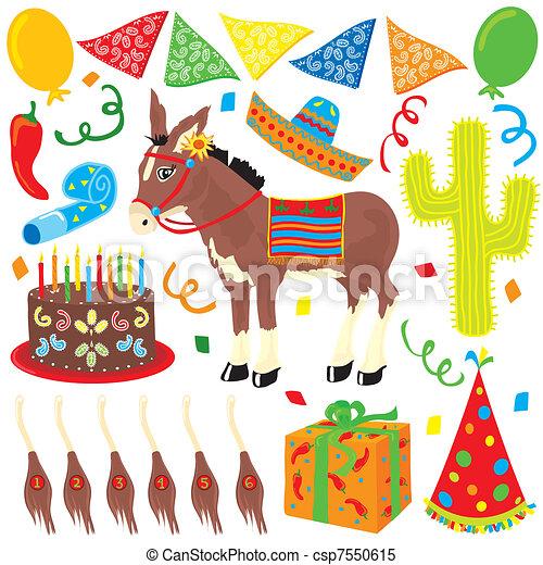 Mexican Fiesta Birthday Party - csp7550615