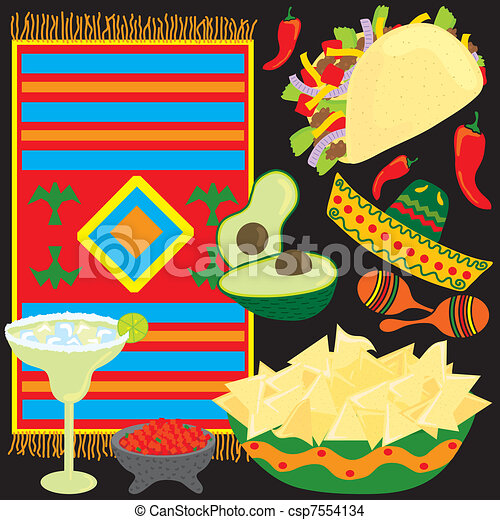 Mexican Fiesta Party Elements - csp7554134