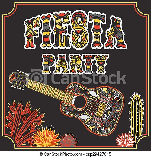 Mexican fiesta party invitation with mexican guitar vector mexican fiesta party invitation csp29427015 stopboris Images