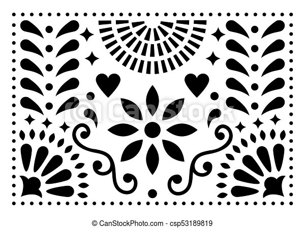 Mexican folk art vector pattern, colorful design with flowers inspired by traditional art form Mexico - csp53189819