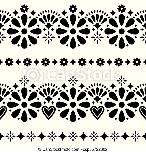 Mexican Folk Seamless Vector Background Black And White Long