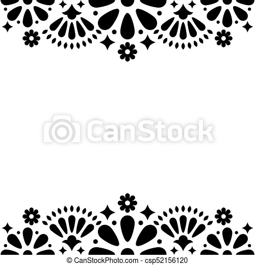 Mexican Folk Vector Wedding Or Party Invitation Floral Happy