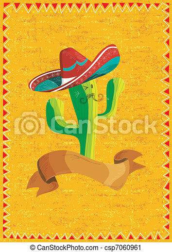 Mexican food cactus over grunge background - csp7060961