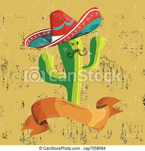 Mexican food cactus with banner - csp7058584