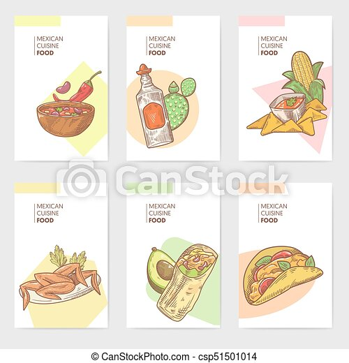 mexican food hand drawn brochure template set mexico traditional cuisine cards vector illustration