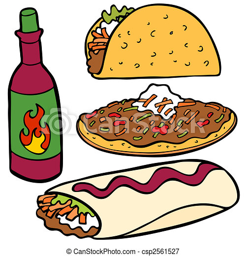 mexican food items mexican food item isolated on a white vectors rh canstockphoto com mexican food clip art borders mexican food clipart black and white