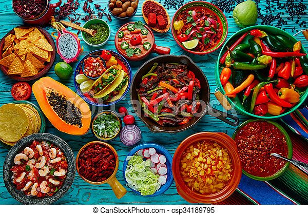 Mexican food mix colorful background - csp34189795