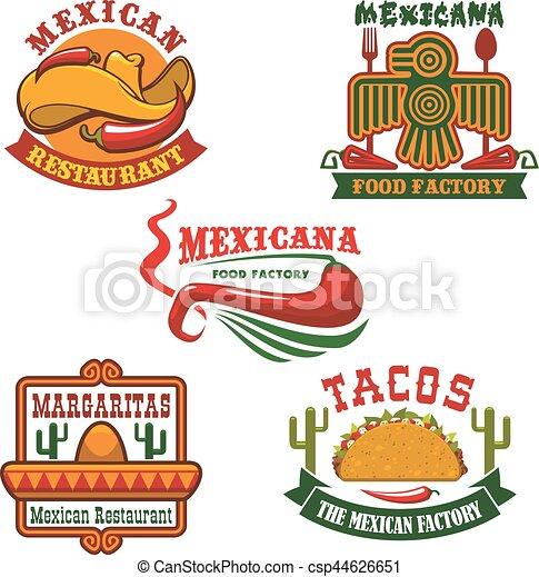 mexican food restaurant emblem set design mexican food clipart rh canstockphoto com mexican food png clipart eating mexican food clipart