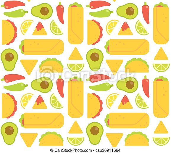 mexican food seamless pattern. tacos, burritos, nachos and clip