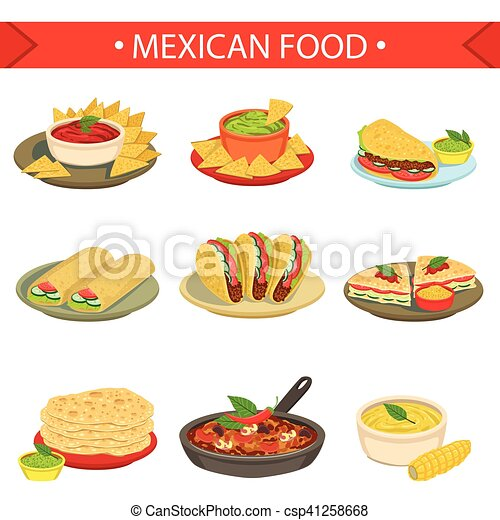 mexican food signature dishes illustration set traditional clip rh canstockphoto com mexican food clipart images mexican food clipart images