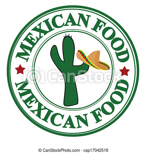 mexican food stamp. grunge rubber stamp with cactus and vector