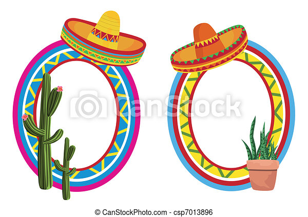 Mexican frames. Frame illustrations with the sombrero and cactus.