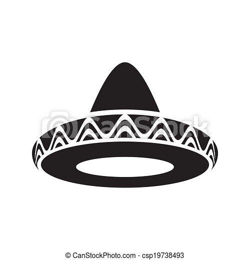 Mexican hat. Black vector mexican hat sombrero icon isolated. a497dc35c99