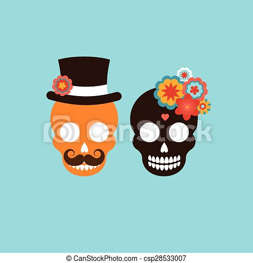 Mexican hipster skull couple mexican wedding invitation mexican hipster skull couple vector stopboris Images