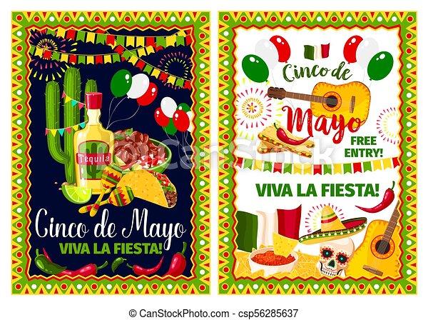 Mexican Holiday Card Of Cinco De Mayo Fiesta Party