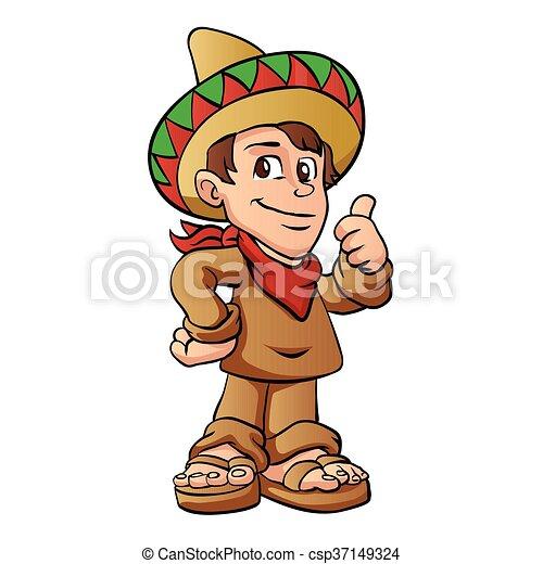 mexican kid cartoon. - csp37149324