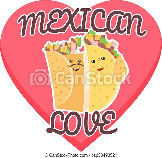 Mexican Love Symbol With Hugging Burrito And Taco On Pink Heart