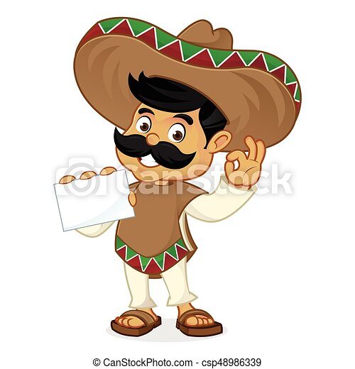 Mexican man cartoon holding business card - csp48986339