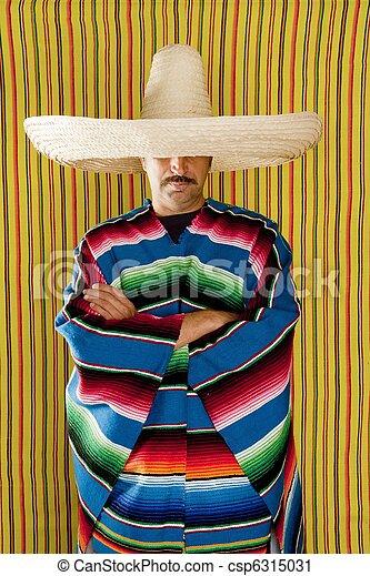 Mexican man typical poncho sombrero serape - csp6315031