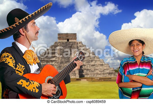 Mexican mariachi charro man and poncho Mexico girl - csp6089459