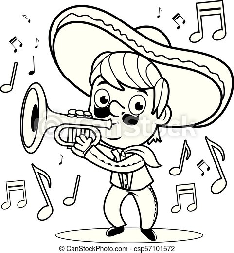 Mexican mariachi man playing the trumpet. Black and white coloring book  page - csp57101572 ecaa587a5e4