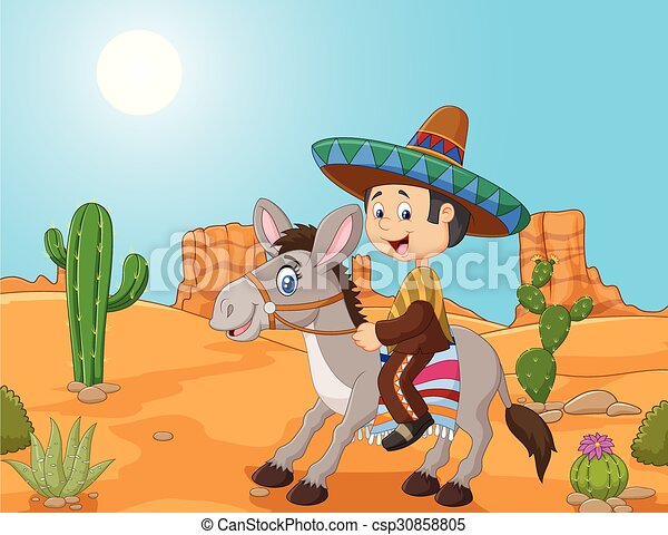 Mexican men driving a donkey  - csp30858805