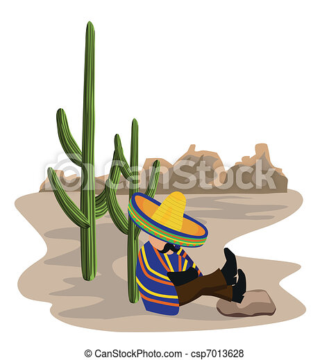 Mexican napping in the desert - csp7013628