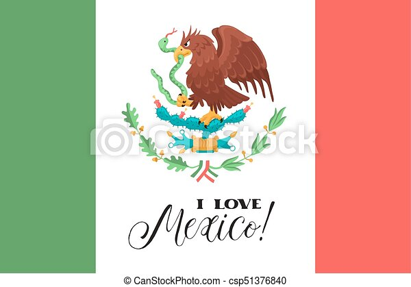 Mexican National Flag Mexican Flag With Eagle And Text I Love Mexico
