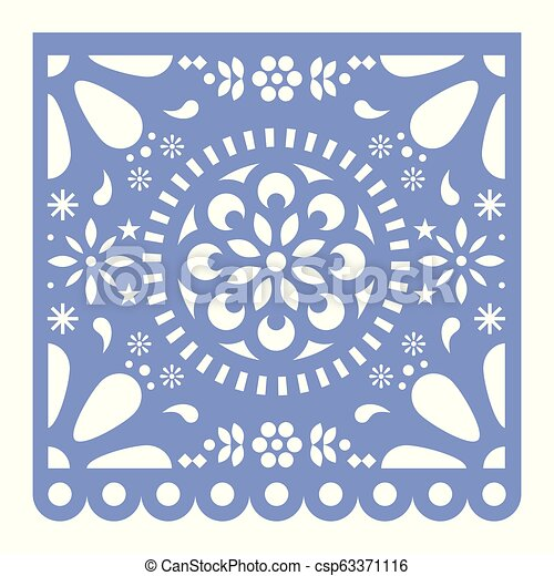 Mexican Papel Picado Cutout Vector Design Happy Purple Paper Fiesta Decoration From Mexico With Flowers And Geometric Pattern