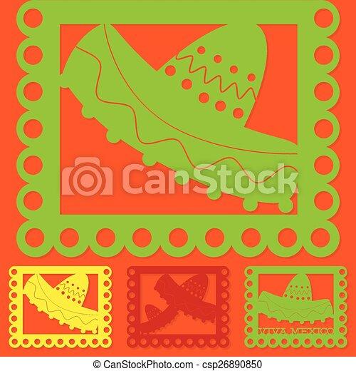 mexican papel picado paper flag decoration set in vector format