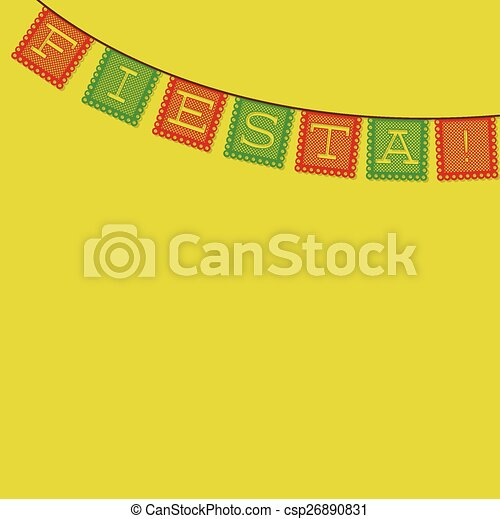 mexican papel picado paper flag decoration card in vector format