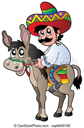 vector clipart of mexican riding donkey vector illustration