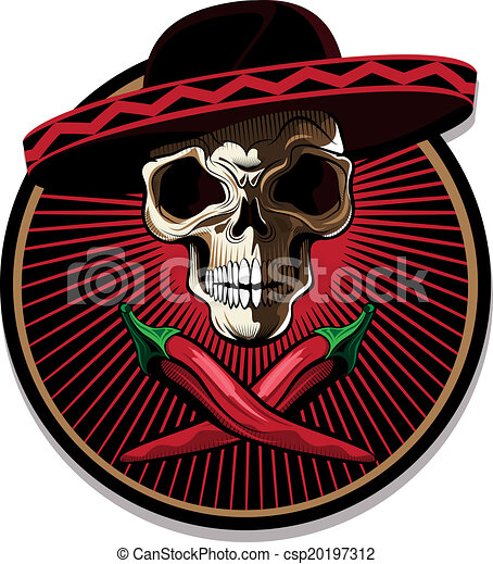 Mexican skull emblem or icon - csp20197312