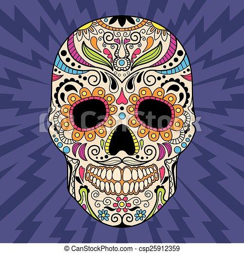 Mexican skull, the original pattern. vector  - csp25912359