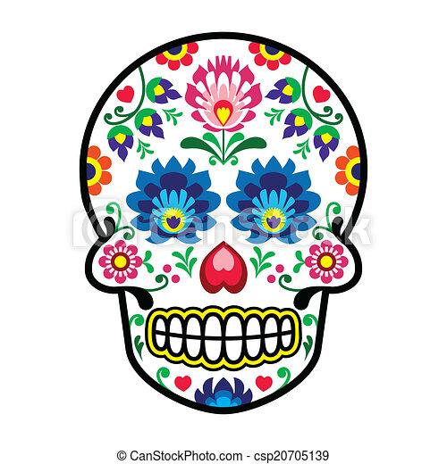 Mexican sugar skull - Polish folk - csp20705139