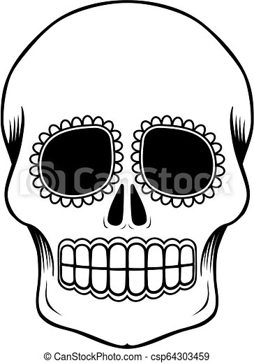 Mexican Sugar Skull Template Empty Mexican Sugar Skull Isolated On White Can Be Used For Coloring Book Day Of The Dead