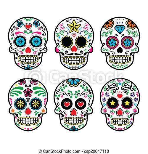 mexican sugar skull vector icons vector icon set of decorated skull