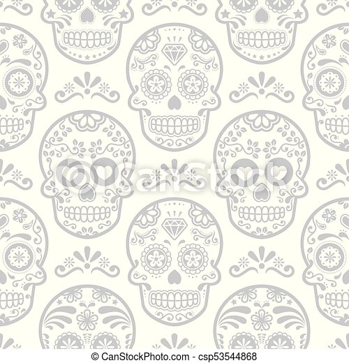 Mexican Sugar Skull Vector Seamless Pattern, Halloween Candy Skulls Background, Day Of The Dead