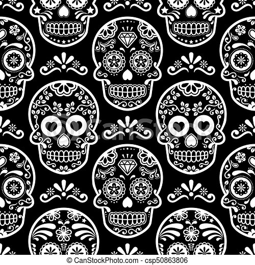 Mexican Sugar Skull Vector Seamless Pattern On Black Halloween White Candy Skulls Background Day