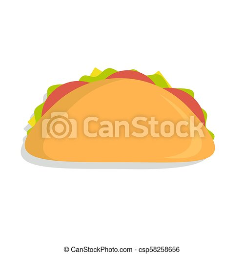 Mexican Taco Icon Taco With Tortilla Shell Mexican Lunch Flat Color Vector Icon For Food Apps And Websites Canstock
