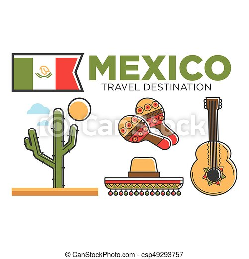 Mexican Tourist Travel Attractions And Mexico Traditional Culture