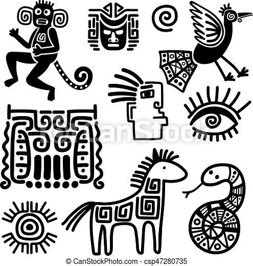 Mexican Tribal Black Line Symbols Or Indian Traditional Vectors